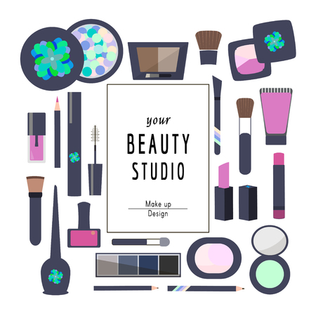Flat Icons Cosmetics and Makeup vector illustration.