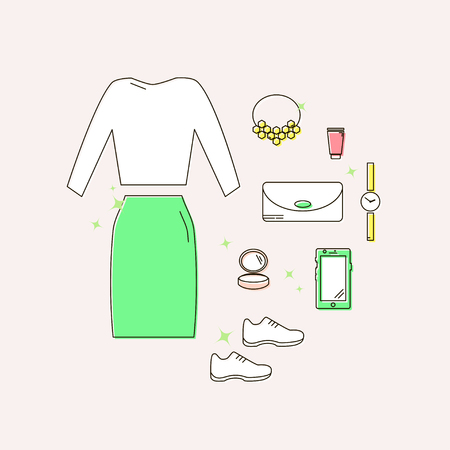 Set of Clothes and Accessories Linear Icons illustration.