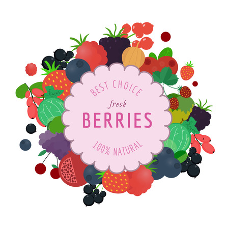 Natural Organic Fresh Berries Icons. Berries Design Template. Flat vector illustration.