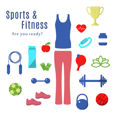Fitness and Sport Flat Icons