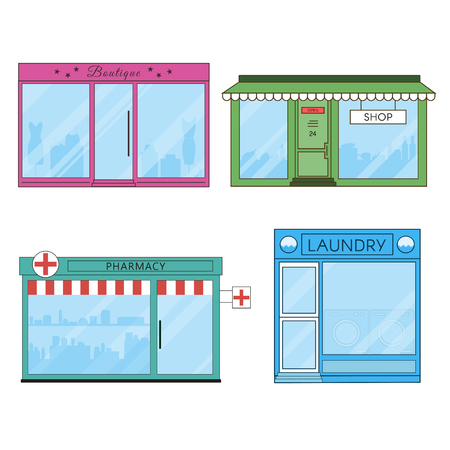 Shops and Stores Flat Icons