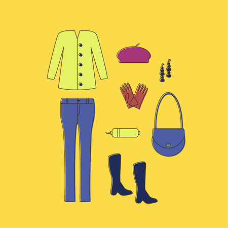 Look. Set of Clothes and Accessories Linear Icons