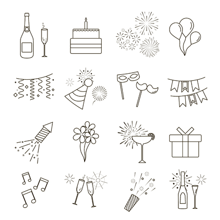 Line Web Icons of Party, Celebration, Birthday and Holidays