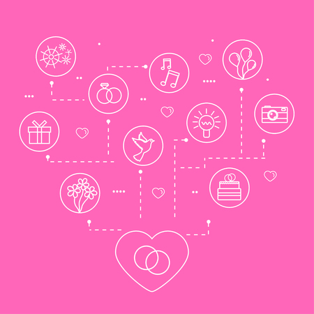 Vector Wedding and Love Linear Icons