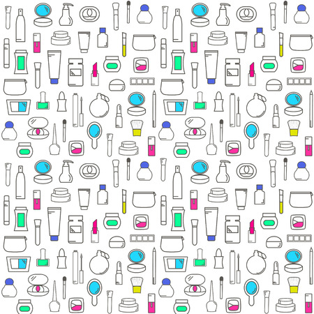 Seamless Pattern With Decorative Cosmetics illustration. Stock Illustratie