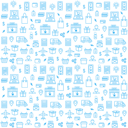 Seamless Pattern With Online Shopping Icons in Thin Line Style.