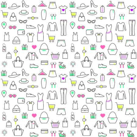 Seamless Pattern With Linear Clothes and Accessories