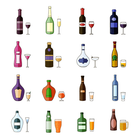 Set of Flat Alcohol Drinks Icons Stock Illustratie
