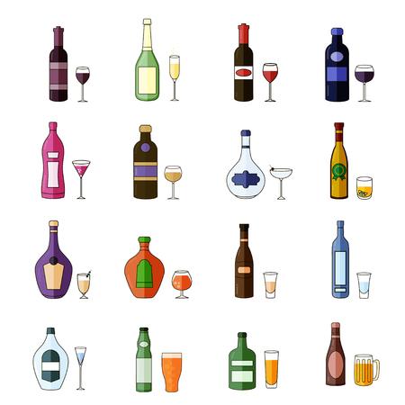 Set of Flat Alcohol Drinks Icons Stock Illustratie