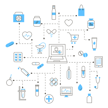 Set of Pharmacy and Medicine Linear Icons Stock Illustratie