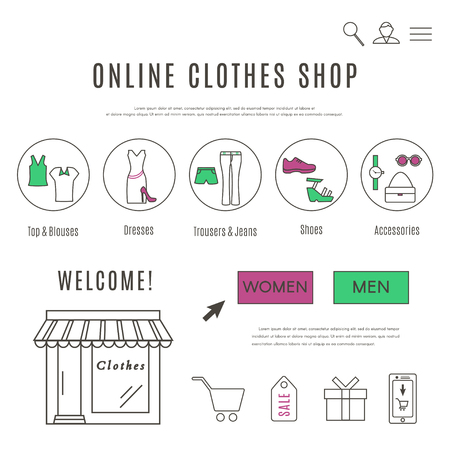 Web Design Template of Clothes and Accessories Online Shop Stock Illustratie