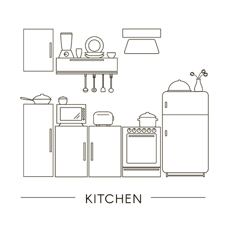 Kitchen Interior in Line Style