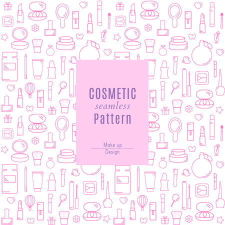 Seamless Pattern With Makeup Products and Cosmetics Icons