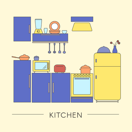 Colored Kitchen Interior in Thin Line Style