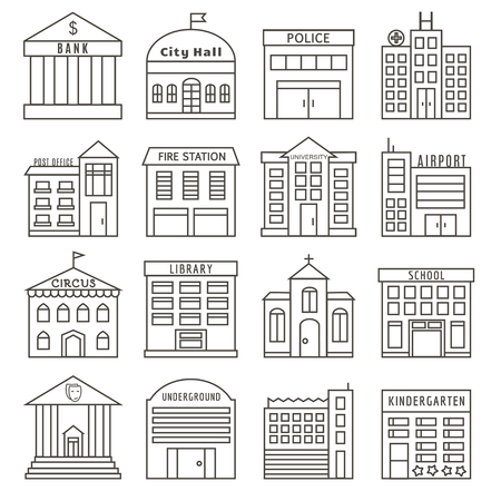 Set of Government Buildings in Line Style