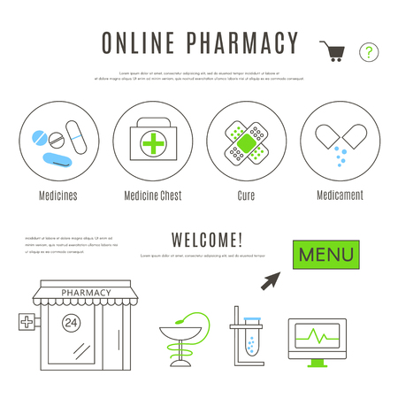 Web Design Template of Pharmacy and Chemists Online Shop Stock Illustratie