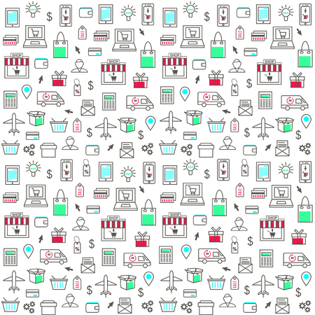 Seamless Pattern With Online Shopping Icons Stock Illustratie