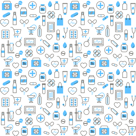 Seamless Pattern With Chemists and Pharmacy Icons