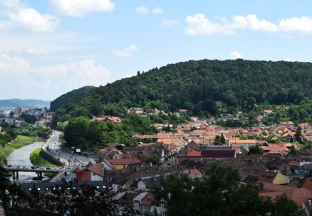 Summer panoramic landscape of the old town. Sighisoara, Mures County, Transylvania, Romania