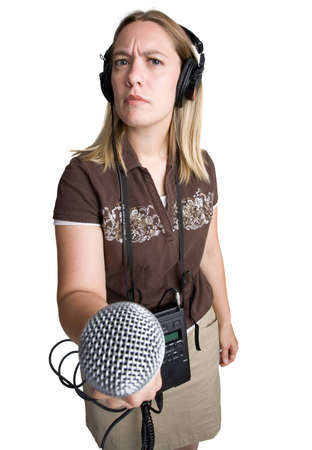 A woman making an audio recording or interview Stock Photo - 8561332