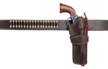 leather belt: gun belt with holster and old revolver Stock Photo