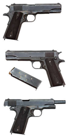 three views of an antique military pistol (no brand names, logos, or identifying marks) photo