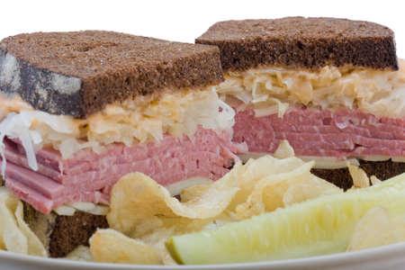 halved  half: A reuben sandwich, cut in half