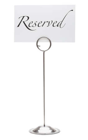Reserved sign in card holder Stock Photo - 8686112