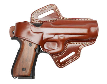 Semiautomatic handgun in leather holster