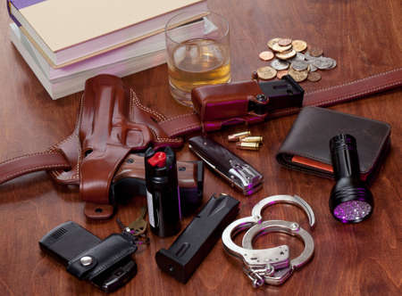 nightstand: police gear on nightstand. No visible trademarks