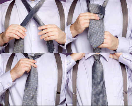 A sequence of four photos showing a man in various stages of tying a necktie.  Banco de Imagens