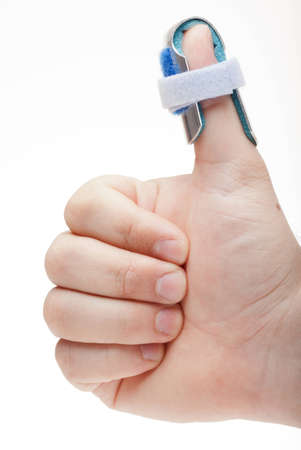 Man with splint makes gesture  Stock Photo