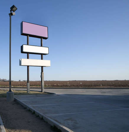 Blank signs in parking lot