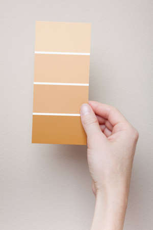 A woman holds a card with four paint swatches near a wall for comparison. Stock Photo
