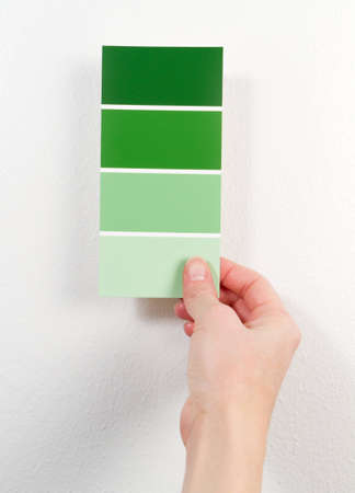 A woman holds green paint swatches near a white wall.
