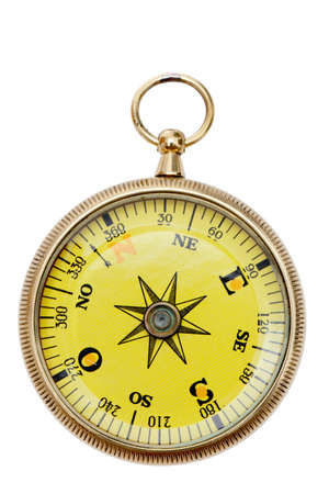 A brass pocket compass isolated on a pure white background.  photo