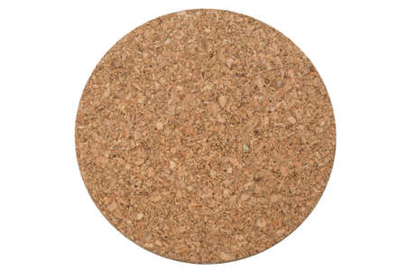 trivet: A circular cork trivet isolated on a pure white background