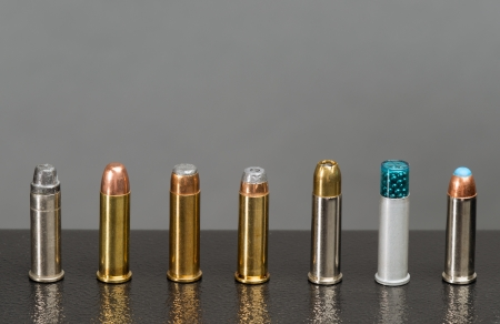 seven different types of bullets, all in the same caliber.  Stock Photo