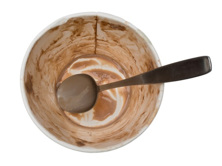 Empty tub of chocolate ice cream, isolated on white Stock fotó