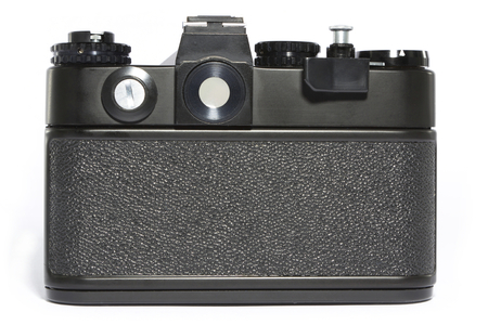 viewfinder vintage: Film camera. Back view. Stock Photo