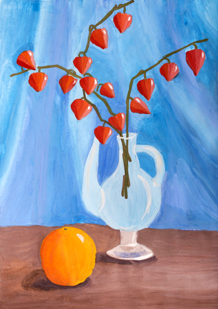 decanter: Children drawing in gouache Still life with orange and branch Physalis
