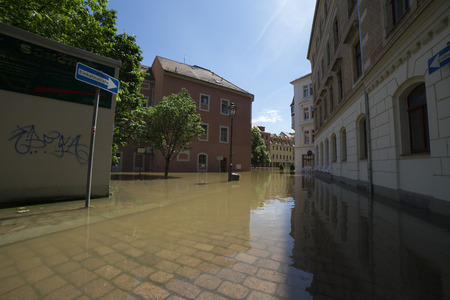 protection of land: Flooding in Meyssen, Germany, in June 2013