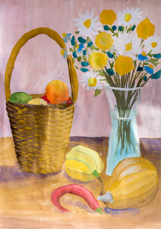still life flowers: Children drawing in gouache Still Life with food and a bouquet of flowers Stock Photo
