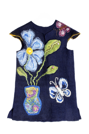 Childrens vest felted wool on a white background