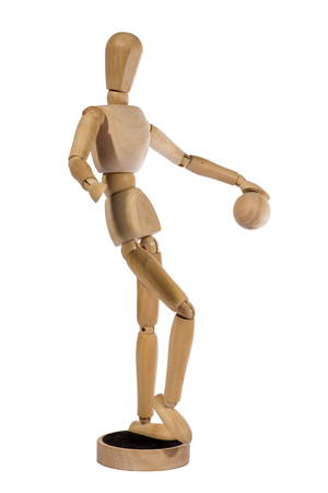sitter: Wooden figurine man hinged on a white background