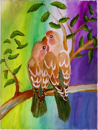 lovebirds: Children drawing in oil on canvas Cherubic lovebirds
