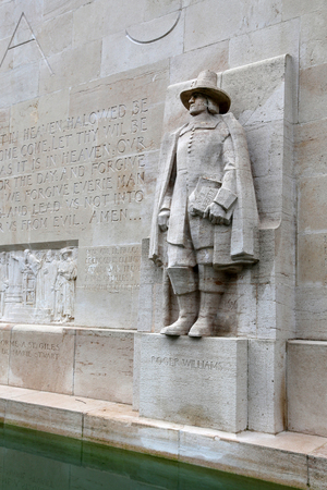 reformation: Statue of Roger Williams in Reformation Wall in Geneva