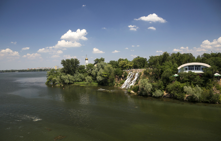 monastic: View of the Monastic Island in Dnepropetrovsk city park