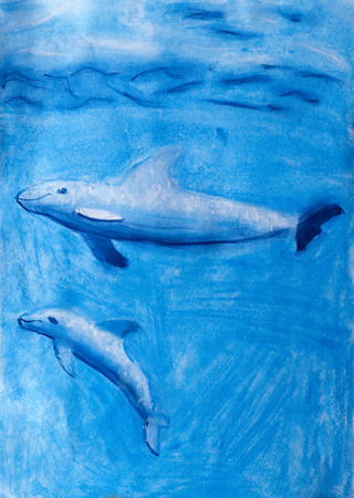 pastel drawing: Childrens pastel drawing Dolphins under water Stock Photo
