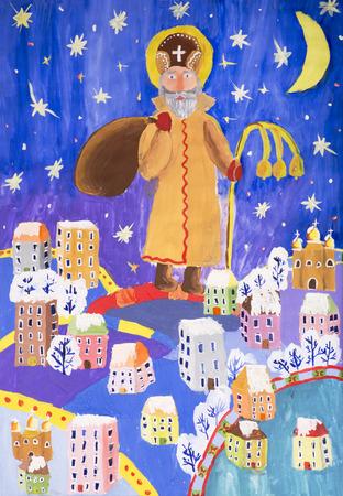 Children drawing in gouache Saint Nicholas brings gifts to children Stockfoto